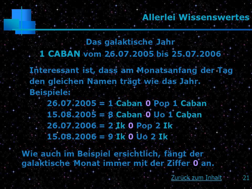 21 Allerlei Wissenswertes Das galaktische Jahr 1 CABAN vom 26.07.2005 bis 25.07.2006 Interessant ist, dass am Monatsanfang der Tag den gleichen Namen