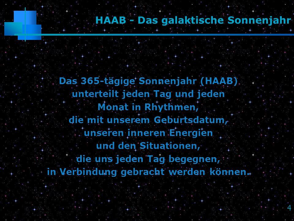 4 HAAB - Das galaktische Sonnenjahr Das 365-tägige Sonnenjahr (HAAB) unterteilt jeden Tag und jeden Monat in Rhythmen, die mit unserem Geburtsdatum, u