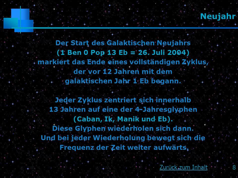 8 Neujahr Der Start des Galaktischen Neujahrs (1 Ben 0 Pop 13 Eb = 26. Juli 2004) markiert das Ende eines vollständigen Zyklus, der vor 12 Jahren mit