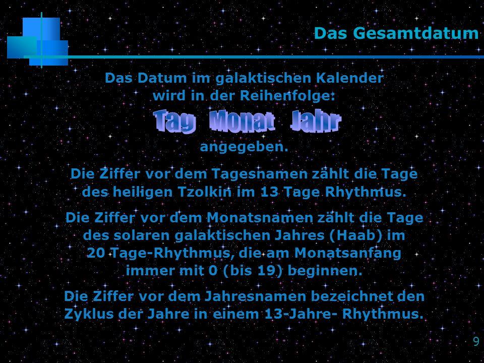 9 Das Gesamtdatum Das Datum im galaktischen Kalender wird in der Reihenfolge: angegeben. Die Ziffer vor dem Tagesnamen zählt die Tage des heiligen Tzo