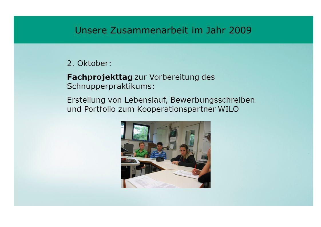 2. Oktober: Fachprojekttag zur Vorbereitung des Schnupperpraktikums: Erstellung von Lebenslauf, Bewerbungsschreiben und Portfolio zum Kooperationspart