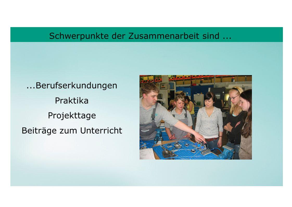 Schwerpunkte der Zusammenarbeit sind......Berufserkundungen Praktika Projekttage Beiträge zum Unterricht