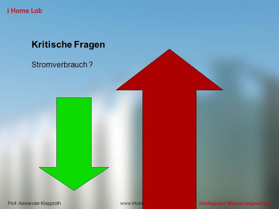 Prof. Alexander Klapprothwww.iHomeLab.ch Kritische Fragen Stromverbrauch ?