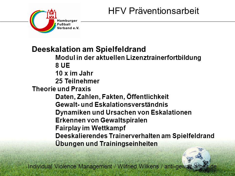 HFV Präventionsarbeit Deeskalation am Spielfeldrand Modul in der aktuellen Lizenztrainerfortbildung 8 UE 10 x im Jahr 25 Teilnehmer Theorie und Praxis