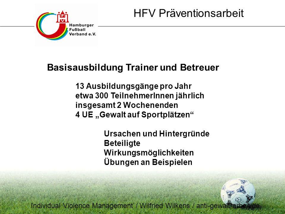 Basisausbildung Trainer und Betreuer 13 Ausbildungsgänge pro Jahr etwa 300 TeilnehmerInnen jährlich insgesamt 2 Wochenenden 4 UE Gewalt auf Sportplätz
