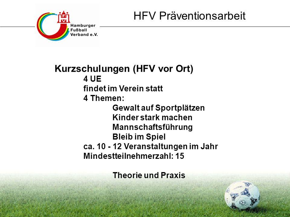 HFV Präventionsarbeit Kurzschulungen (HFV vor Ort) 4 UE findet im Verein statt 4 Themen: Gewalt auf Sportplätzen Kinder stark machen Mannschaftsführun