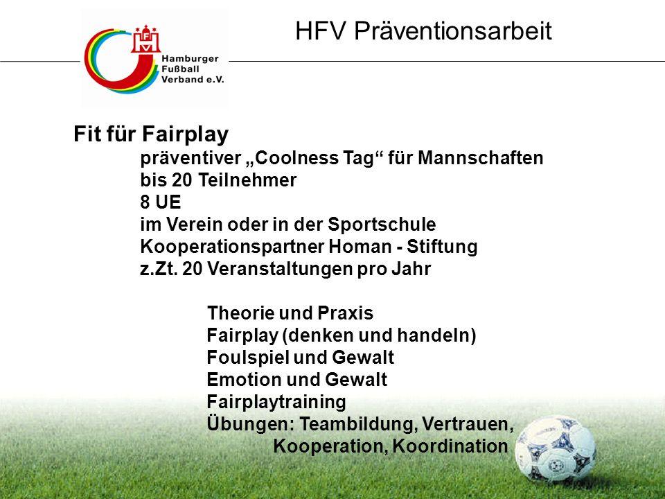 Fit für Fairplay präventiver Coolness Tag für Mannschaften bis 20 Teilnehmer 8 UE im Verein oder in der Sportschule Kooperationspartner Homan - Stiftu