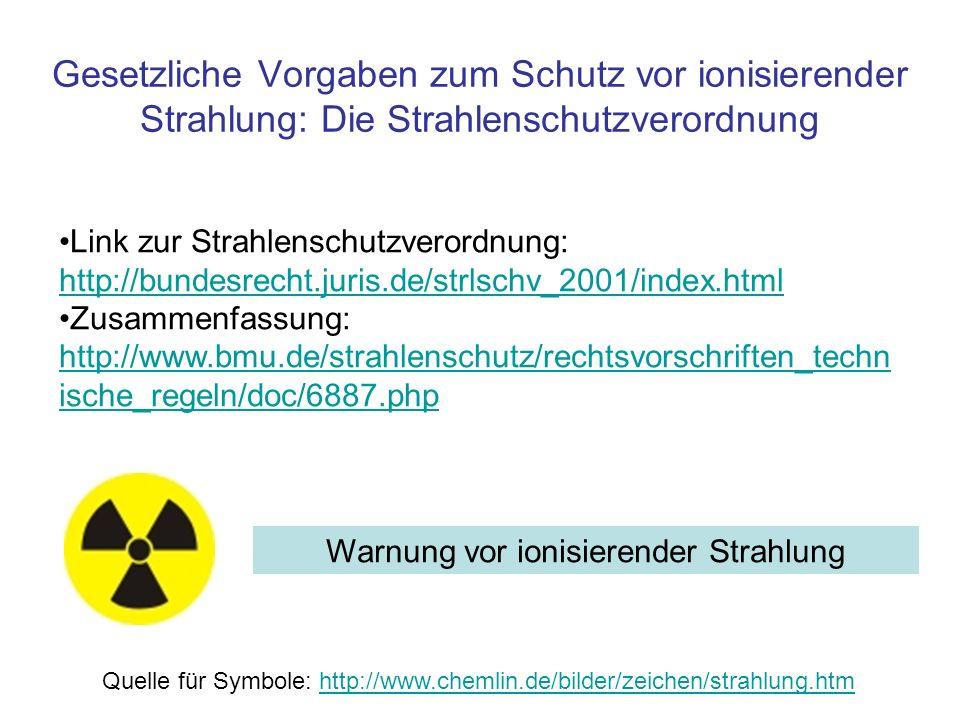 Gesetzliche Vorgaben zum Schutz vor ionisierender Strahlung: Die Strahlenschutzverordnung Link zur Strahlenschutzverordnung: http://bundesrecht.juris.