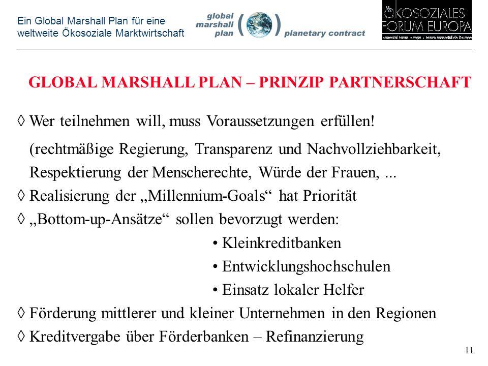Ein Global Marshall Plan für eine weltweite Ökosoziale Marktwirtschaft GLOBAL MARSHALL PLAN – PRINZIP PARTNERSCHAFT Wer teilnehmen will, muss Voraussetzungen erfüllen.
