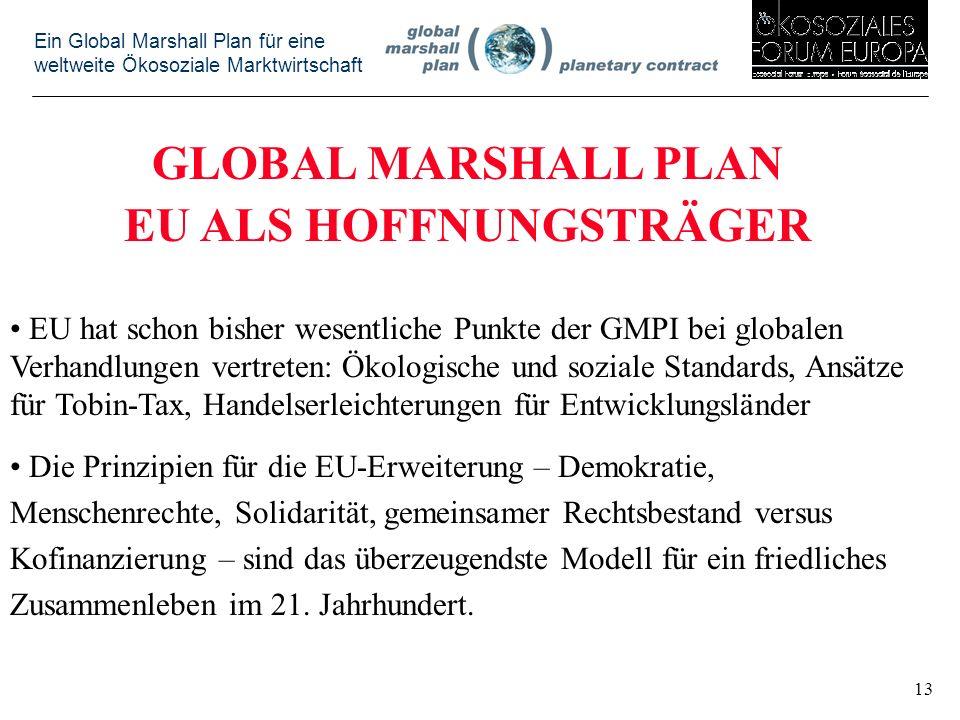 Ein Global Marshall Plan für eine weltweite Ökosoziale Marktwirtschaft GLOBAL MARSHALL PLAN EU ALS HOFFNUNGSTRÄGER EU hat schon bisher wesentliche Punkte der GMPI bei globalen Verhandlungen vertreten: Ökologische und soziale Standards, Ansätze für Tobin-Tax, Handelserleichterungen für Entwicklungsländer Die Prinzipien für die EU-Erweiterung – Demokratie, Menschenrechte, Solidarität, gemeinsamer Rechtsbestand versus Kofinanzierung – sind das überzeugendste Modell für ein friedliches Zusammenleben im 21.