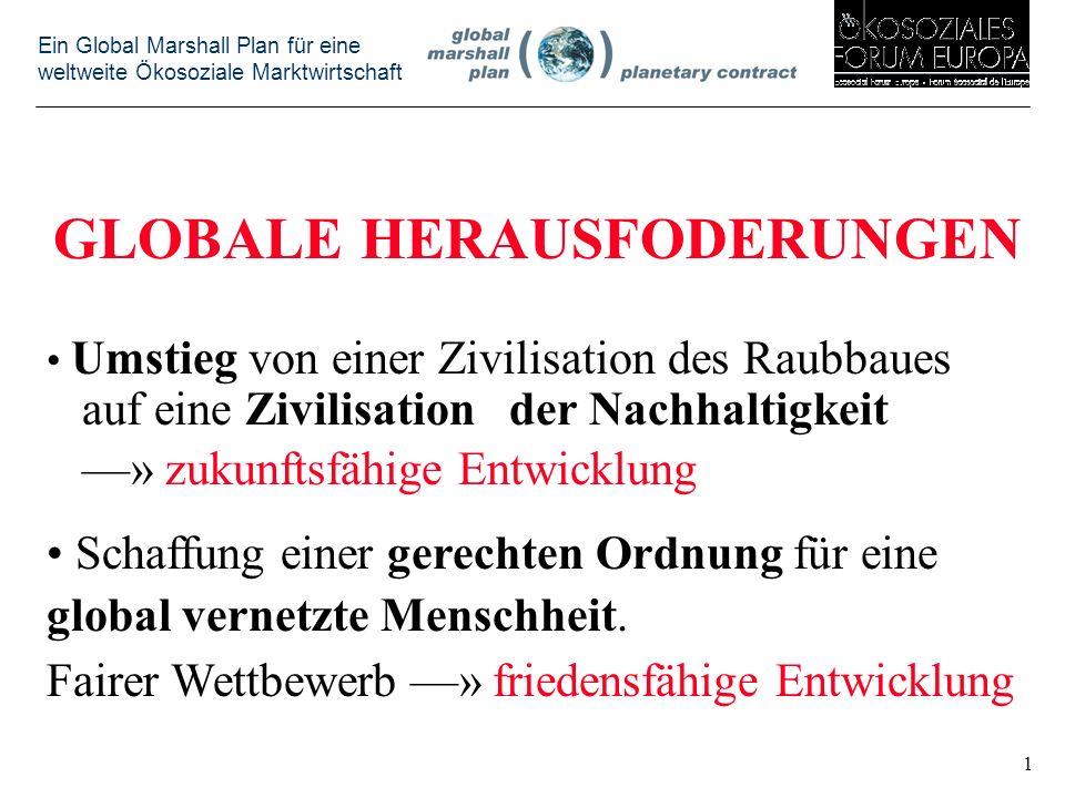 Ein Global Marshall Plan für eine weltweite Ökosoziale Marktwirtschaft GLOBALE HERAUSFODERUNGEN Umstieg von einer Zivilisation des Raubbaues auf eine Zivilisation der Nachhaltigkeit ––» zukunftsfähige Entwicklung Schaffung einer gerechten Ordnung für eine global vernetzte Menschheit.