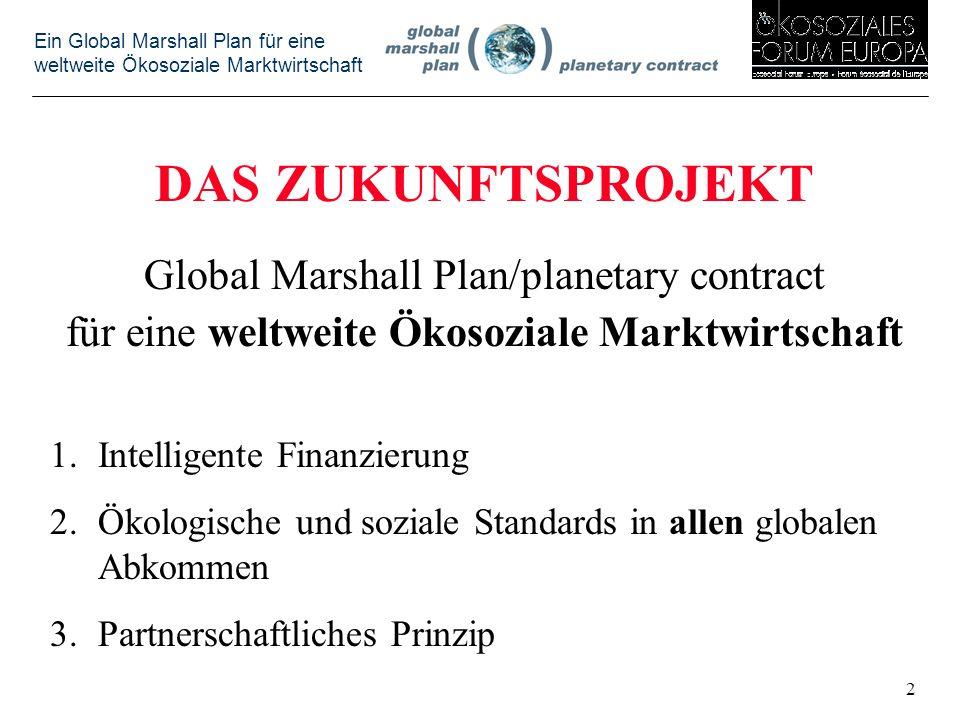 Ein Global Marshall Plan für eine weltweite Ökosoziale Marktwirtschaft DAS ZUKUNFTSPROJEKT Global Marshall Plan/planetary contract für eine weltweite Ökosoziale Marktwirtschaft 1.Intelligente Finanzierung 2.Ökologische und soziale Standards in allen globalen Abkommen 3.Partnerschaftliches Prinzip 2