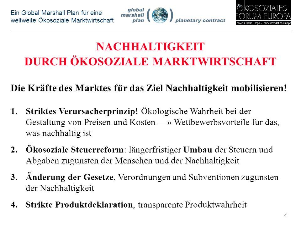 Ein Global Marshall Plan für eine weltweite Ökosoziale Marktwirtschaft NACHHALTIGKEIT DURCH ÖKOSOZIALE MARKTWIRTSCHAFT Die Kräfte des Marktes für das Ziel Nachhaltigkeit mobilisieren.