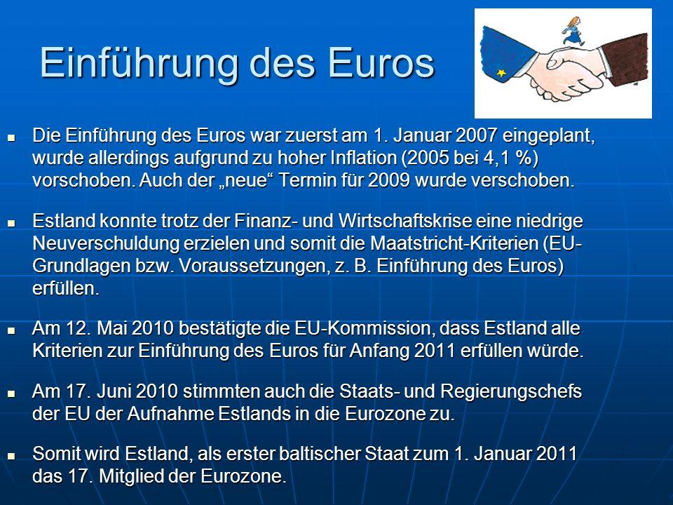 Einführung des Euros Die Einführung des Euros war zuerst am 1. Januar 2007 eingeplant, wurde allerdings aufgrund zu hoher Inflation (2005 bei 4,1 %) v