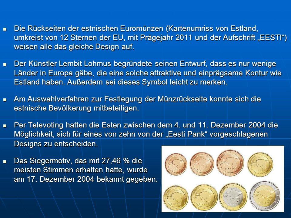 Die Rückseiten der estnischen Euromünzen (Kartenumriss von Estland, umkreist von 12 Sternen der EU, mit Prägejahr 2011 und der Aufschrift EESTI) weise