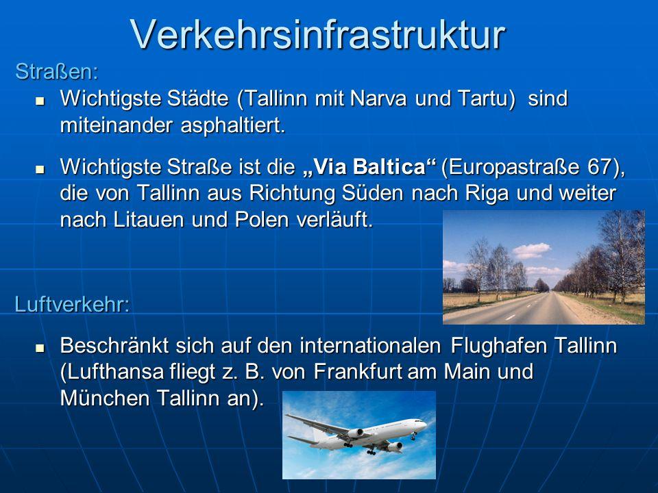 Verkehrsinfrastruktur Wichtigste Städte (Tallinn mit Narva und Tartu) sind miteinander asphaltiert. Wichtigste Städte (Tallinn mit Narva und Tartu) si