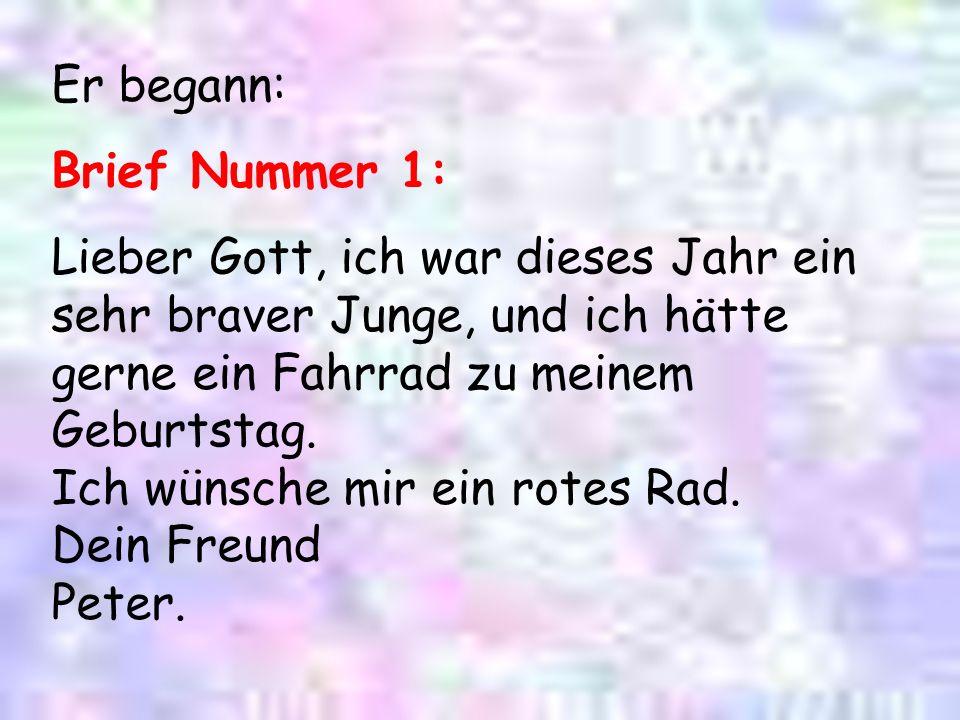 Brief Nummer 5 : Gott, ICH HABE DEINE MUTTER .