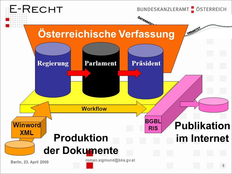 6 Österreichische Verfassung RegierungParlamentPräsident Workflow Produktion der Dokumente Winword XML Publikation im Internet BGBL RIS roman.sigmund@