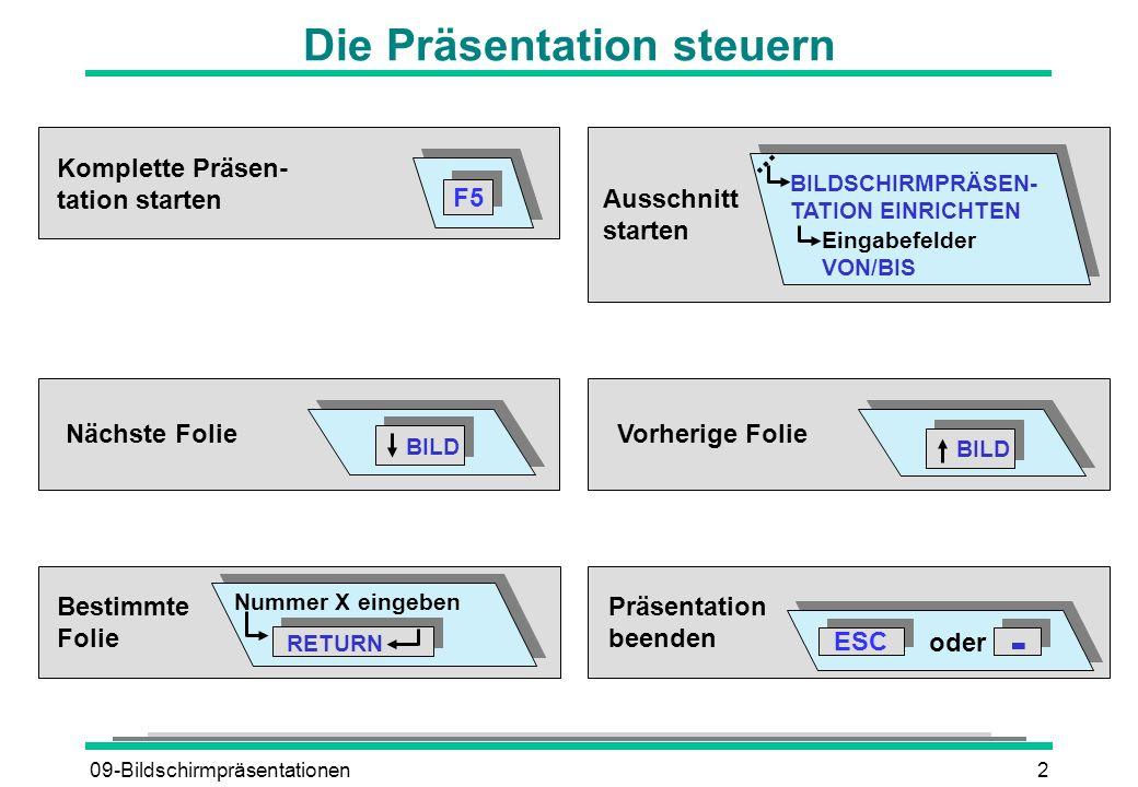 09-Bildschirmpräsentationen3 Folienübergänge erzeugen Folie 1Folie 2 Übergang BILDSCHIRMPRÄSENTATION FOLIENÜBERGANG