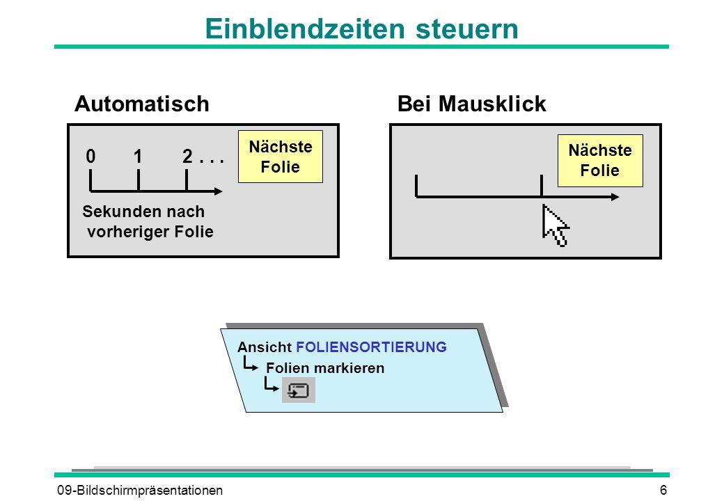 09-Bildschirmpräsentationen7 Die automatische Präsentation steuern Ablauf anhalten A A oder + + Schwarzer Bildschirm S S oder Weißer Bildschirm W W oder Präsentation beenden ESC., Anfangs- folie 2 Sekunden