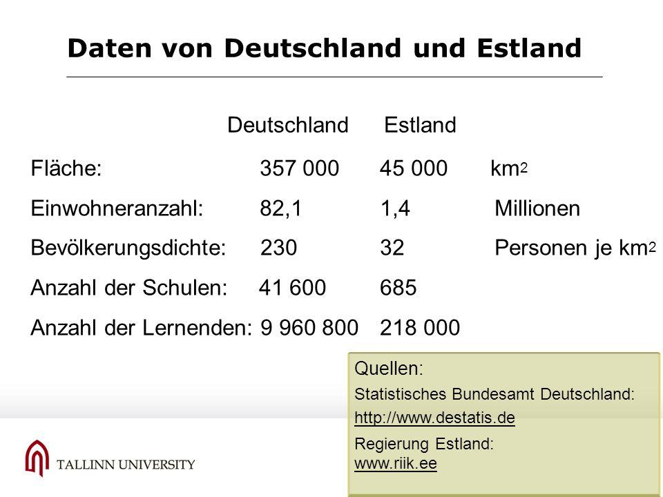 Daten von Deutschland und Estland Fläche: 357 000 45 000 km 2 Einwohneranzahl: 82,1 1,4 Millionen Bevölkerungsdichte: 230 32 Personen je km 2 Anzahl d