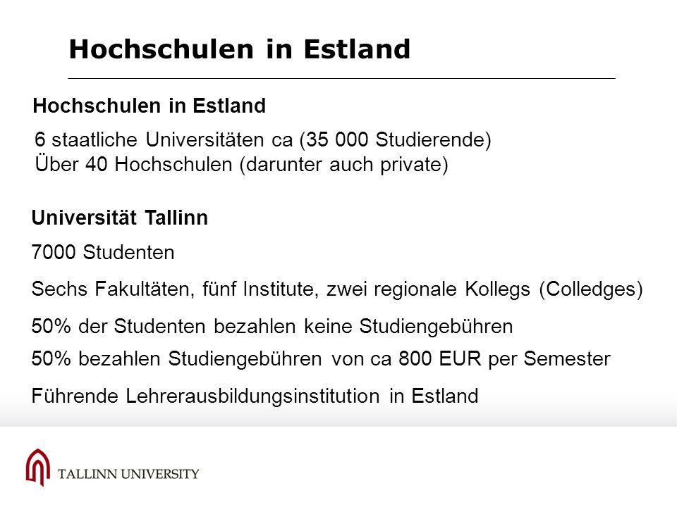 Hochschulen in Estland 6 staatliche Universitäten ca (35 000 Studierende) Über 40 Hochschulen (darunter auch private) Hochschulen in Estland 7000 Stud