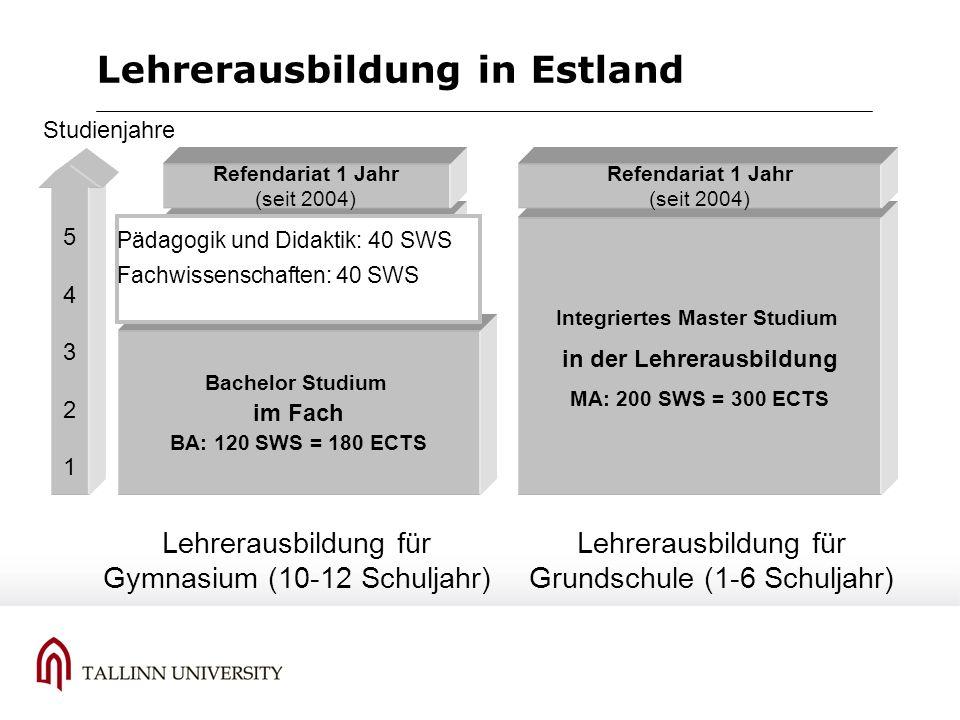 Lehrerausbildung in Estland Bachelor Studium im Fach BA: 120 SWS = 180 ECTS 5432154321 Studienjahre 75 % Master Studium in der Lehrerausbildung MA: 80