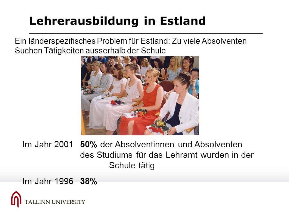 Lehrerausbildung in Estland 1.Es entscheiden sich weniger als 75 % der Strudierenden für den Masterstudiengang (im Jahr 2005: 42%) 2.Die Qualität der Lehrerausbildung erscheint uns in Estland im Rahmen des integrierten Studiums (5 jahre) besser gewahrt als bei 3+2 System Schwächen der Lehrerausbildung beim 3+2 System