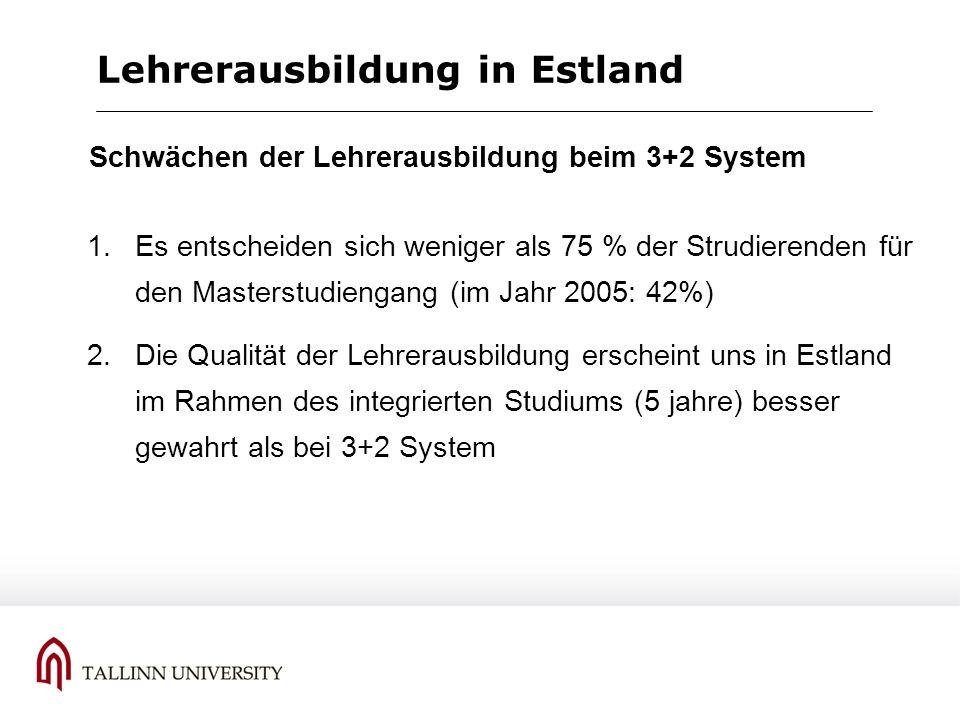 Lehrerausbildung in Estland 1.Es entscheiden sich weniger als 75 % der Strudierenden für den Masterstudiengang (im Jahr 2005: 42%) 2.Die Qualität der