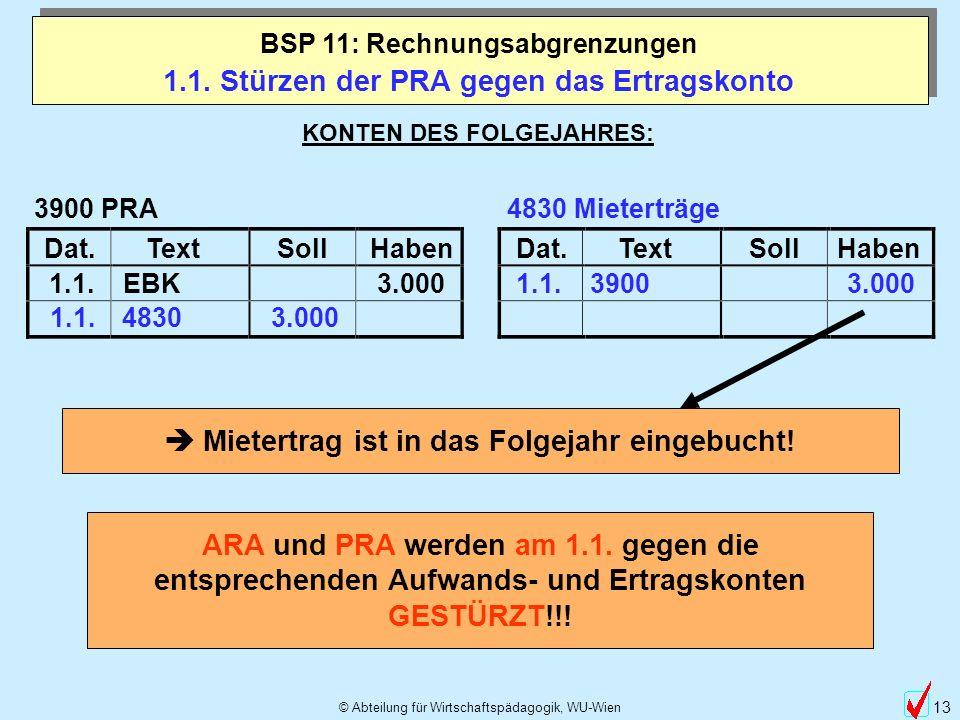 © Abteilung für Wirtschaftspädagogik, WU-Wien 13 1.1. Stürzen der PRA gegen das Ertragskonto BSP 11: Rechnungsabgrenzungen KONTEN DES FOLGEJAHRES: Dat