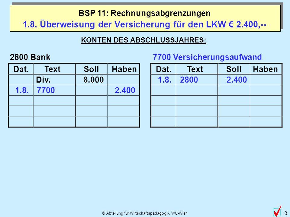 © Abteilung für Wirtschaftspädagogik, WU-Wien 3 1.8. Überweisung der Versicherung für den LKW 2.400,-- BSP 11: Rechnungsabgrenzungen Dat.TextSollHaben