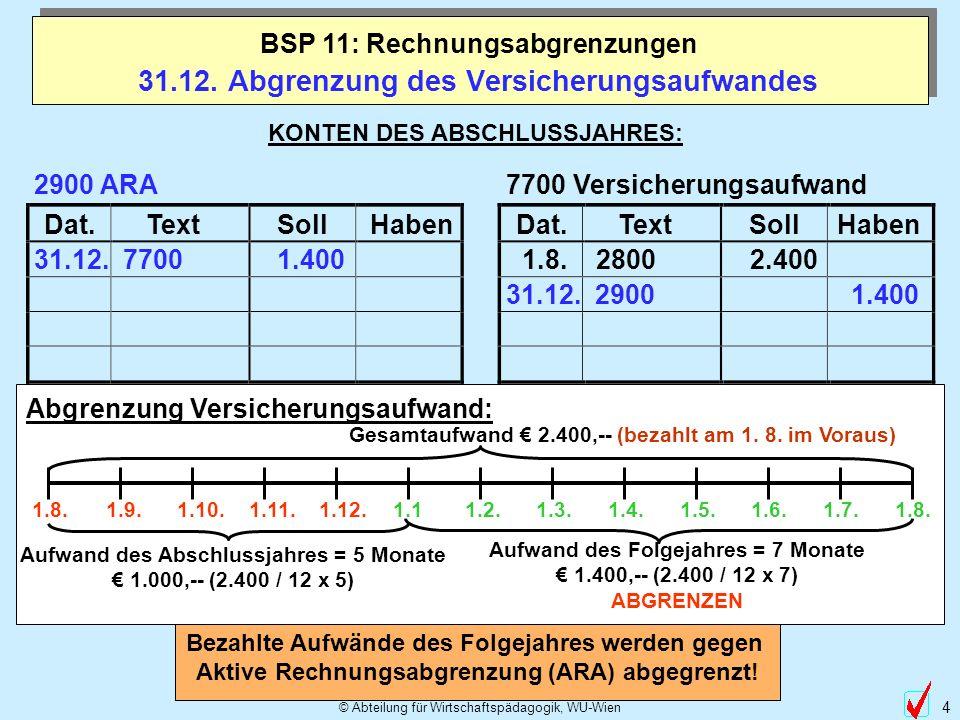 © Abteilung für Wirtschaftspädagogik, WU-Wien 4 Dat.TextSollHabenDat.TextSollHaben 31.12. Abgrenzung des Versicherungsaufwandes BSP 11: Rechnungsabgre