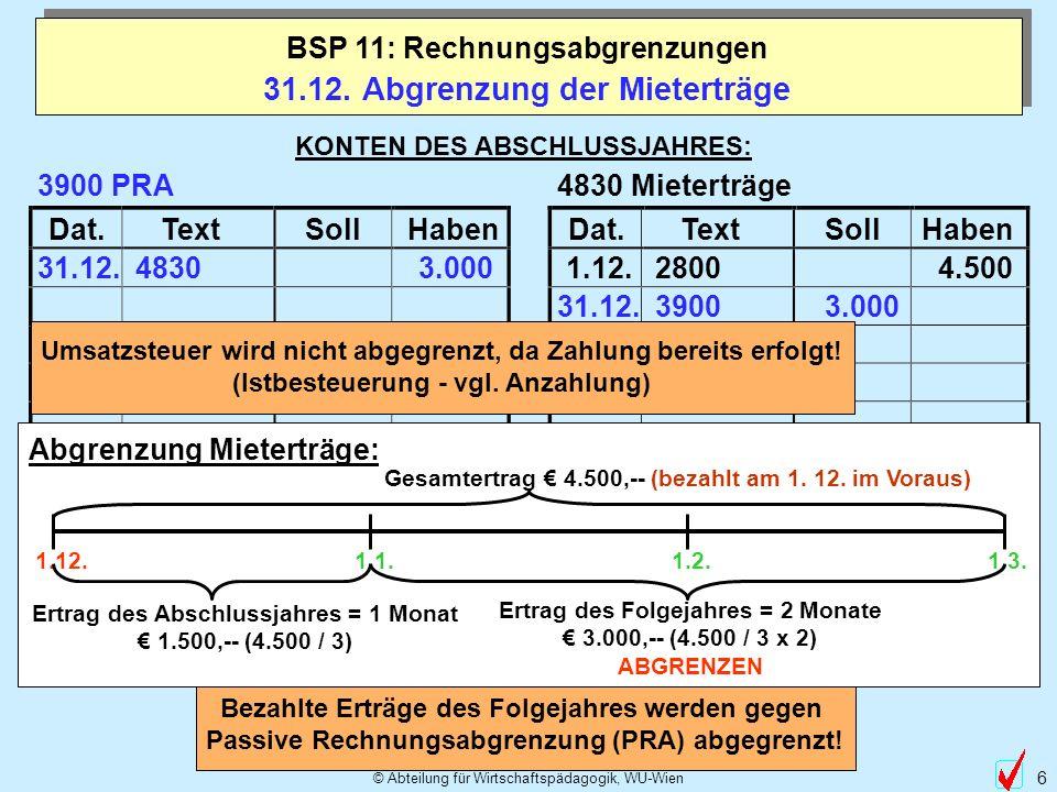 © Abteilung für Wirtschaftspädagogik, WU-Wien 6 Dat.TextSollHabenDat.TextSollHaben 31.12. 3.000 31.12. Abgrenzung der Mieterträge BSP 11: Rechnungsabg