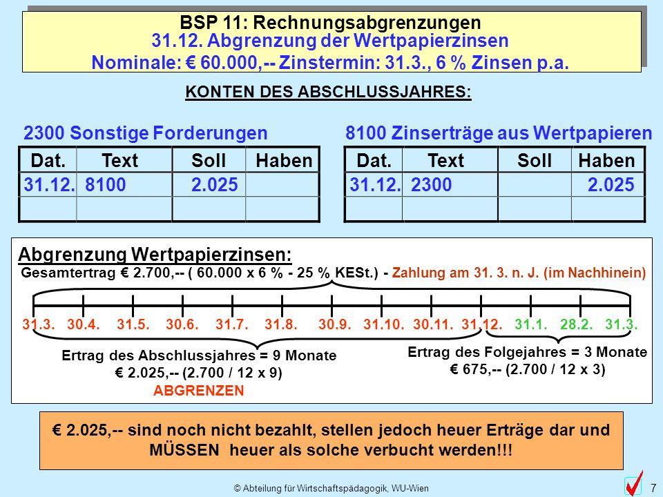 © Abteilung für Wirtschaftspädagogik, WU-Wien 7 Dat.TextSollHabenDat.TextSollHaben 31.12. 2.025 31.12. Abgrenzung der Wertpapierzinsen Nominale: 60.00