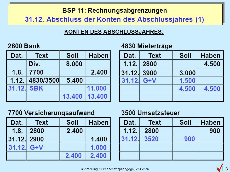 © Abteilung für Wirtschaftspädagogik, WU-Wien 8 31.12. Abschluss der Konten des Abschlussjahres (1) BSP 11: Rechnungsabgrenzungen KONTEN DES ABSCHLUSS