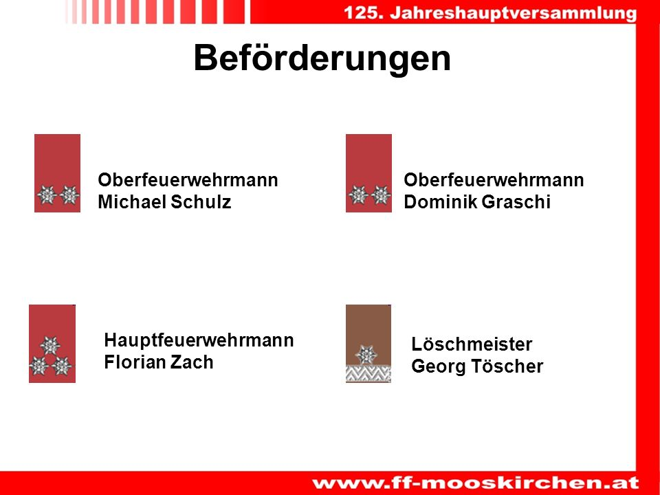 Beförderungen Löschmeister Georg Töscher Oberfeuerwehrmann Michael Schulz Oberfeuerwehrmann Dominik Graschi Hauptfeuerwehrmann Florian Zach