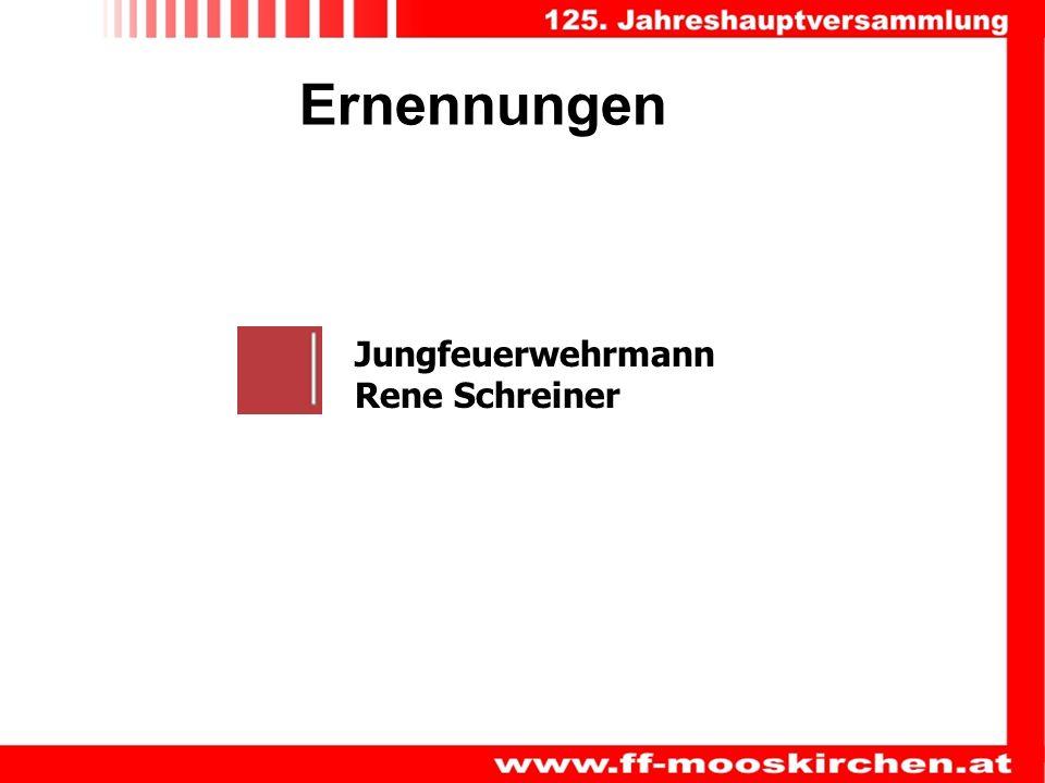 Ernennungen Jungfeuerwehrmann Rene Schreiner