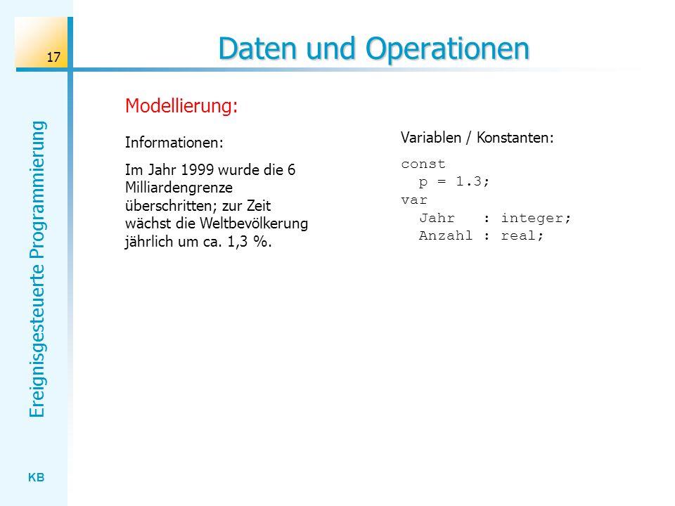KB Ereignisgesteuerte Programmierung 17 Daten und Operationen const p = 1.3; var Jahr : integer; Anzahl : real; Variablen / Konstanten: Informationen: