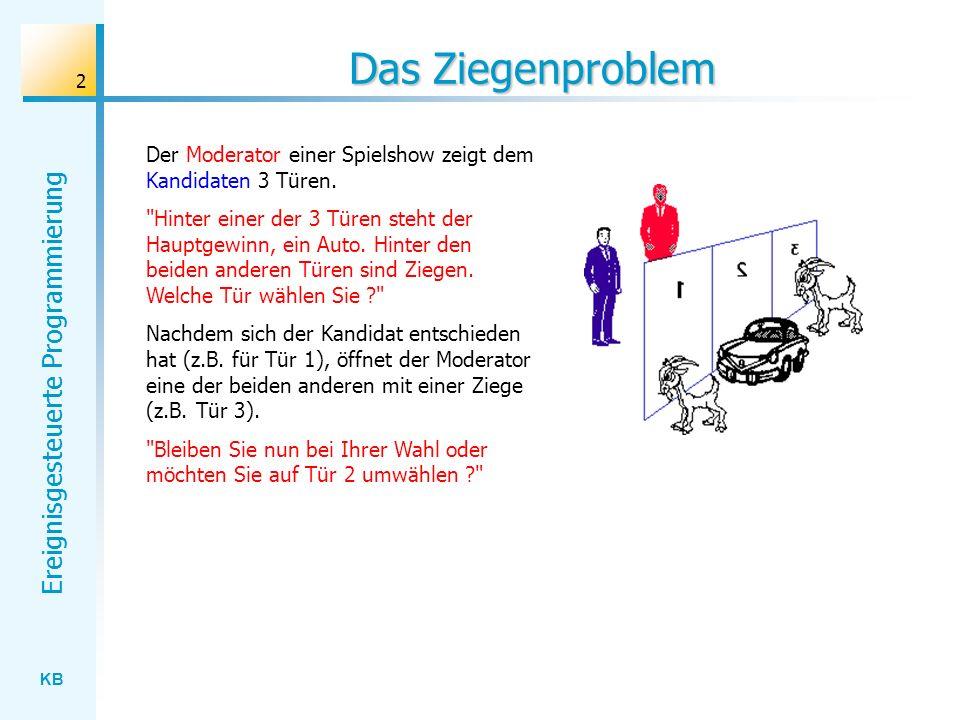 KB Ereignisgesteuerte Programmierung 2 Das Ziegenproblem Der Moderator einer Spielshow zeigt dem Kandidaten 3 Türen.