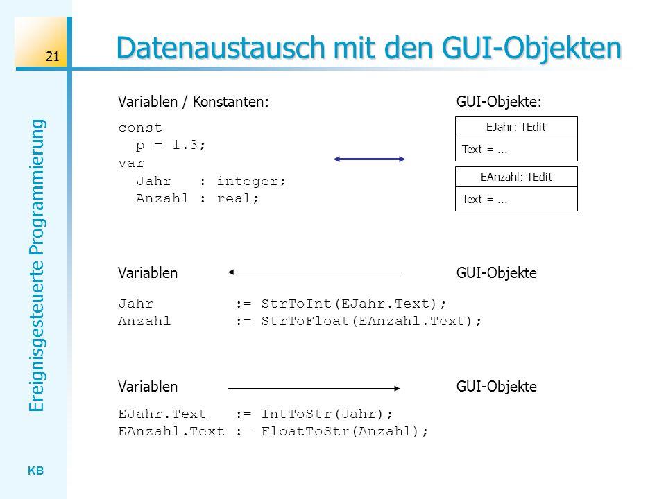KB Ereignisgesteuerte Programmierung 21 Datenaustausch mit den GUI-Objekten EJahr.Text := IntToStr(Jahr); EAnzahl.Text := FloatToStr(Anzahl); const p