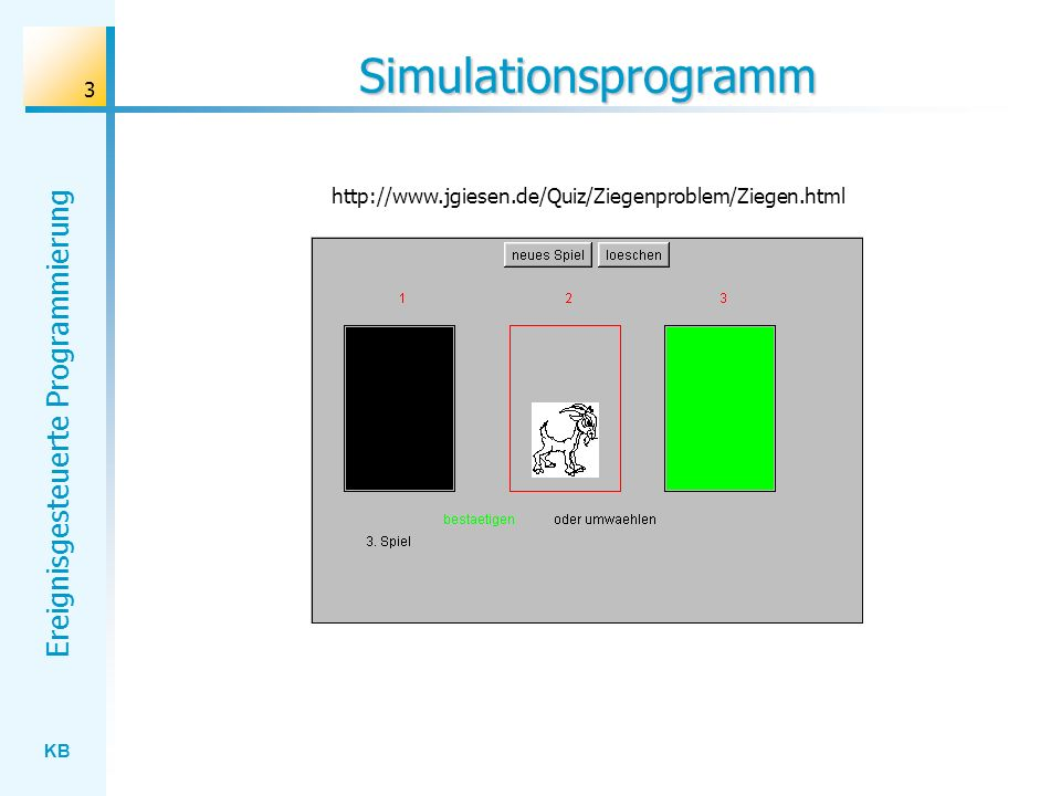 KB Ereignisgesteuerte Programmierung 3 Simulationsprogramm http://www.jgiesen.de/Quiz/Ziegenproblem/Ziegen.html