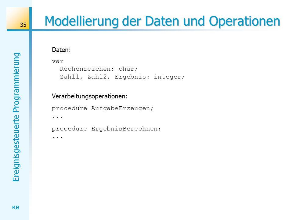 KB Ereignisgesteuerte Programmierung 35 Modellierung der Daten und Operationen var Rechenzeichen: char; Zahl1, Zahl2, Ergebnis: integer; Daten: Verarb