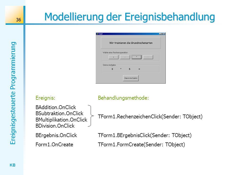 KB Ereignisgesteuerte Programmierung 36 Modellierung der Ereignisbehandlung Ereignis: BAddition.OnClick BSubtraktion.OnClick BMultiplikation.OnClick B