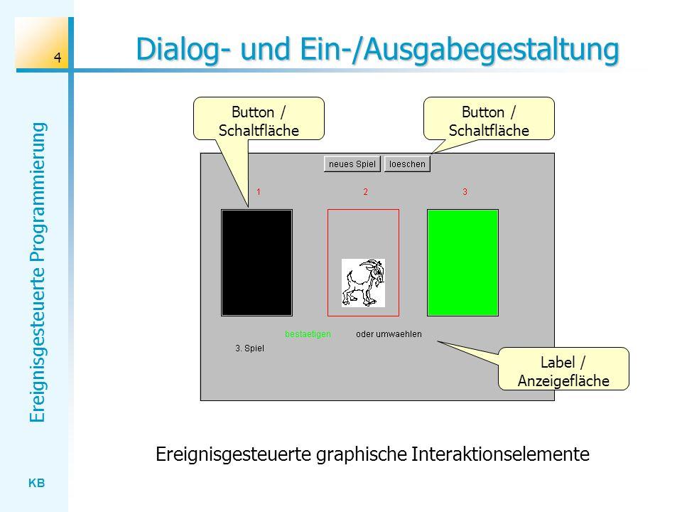 KB Ereignisgesteuerte Programmierung 4 Dialog- und Ein-/Ausgabegestaltung Button / Schaltfläche Label / Anzeigefläche Button / Schaltfläche Ereignisge