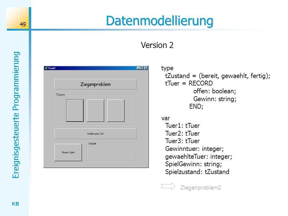 KB Ereignisgesteuerte Programmierung 49 Datenmodellierung type tZustand = (bereit, gewaehlt, fertig); tTuer = RECORD offen: boolean; Gewinn: string; E