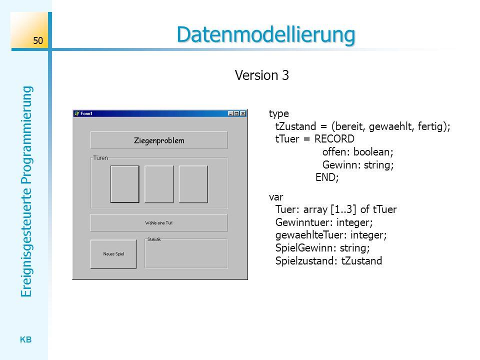 KB Ereignisgesteuerte Programmierung 50 Datenmodellierung type tZustand = (bereit, gewaehlt, fertig); tTuer = RECORD offen: boolean; Gewinn: string; E