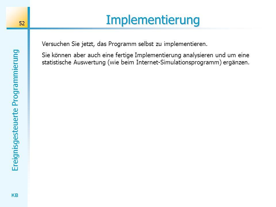KB Ereignisgesteuerte Programmierung 52 Implementierung Versuchen Sie jetzt, das Programm selbst zu implementieren. Sie können aber auch eine fertige