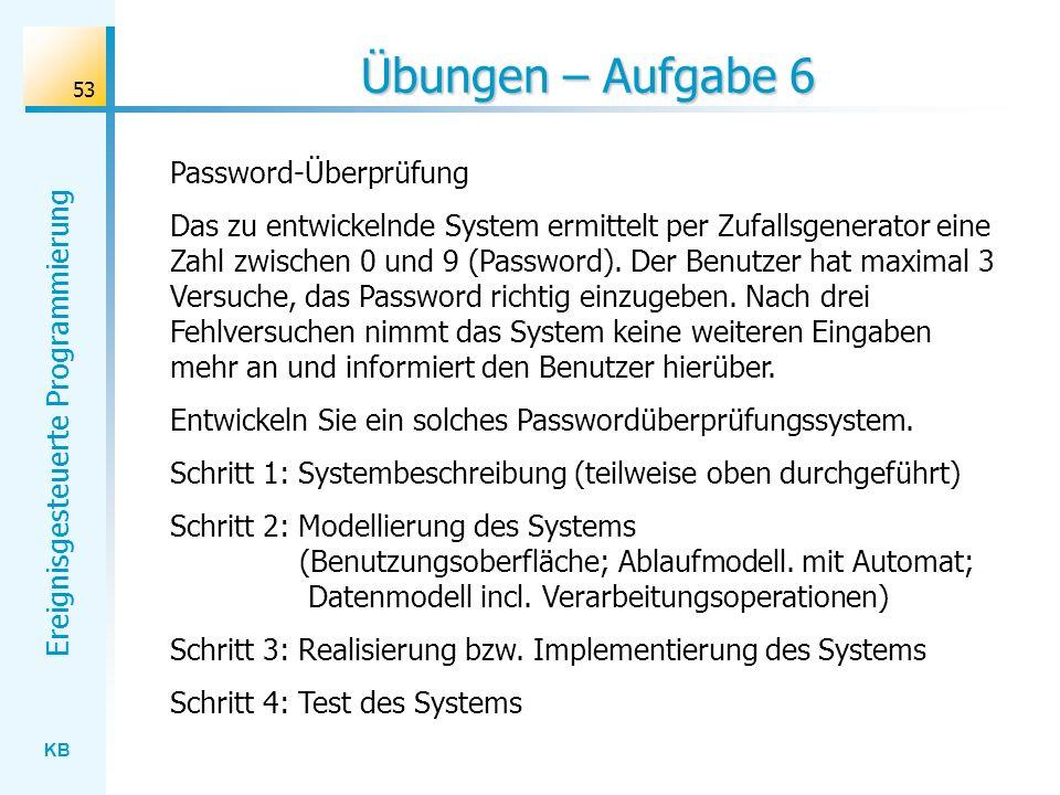 KB Ereignisgesteuerte Programmierung 53 Übungen – Aufgabe 6 Password-Überprüfung Das zu entwickelnde System ermittelt per Zufallsgenerator eine Zahl z