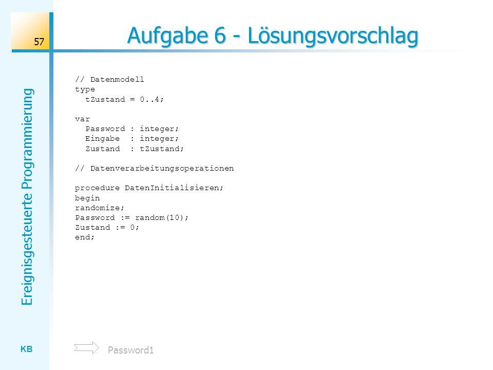 KB Ereignisgesteuerte Programmierung 57 Aufgabe 6 - Lösungsvorschlag // Datenmodell type tZustand = 0..4; var Password : integer; Eingabe : integer; Z
