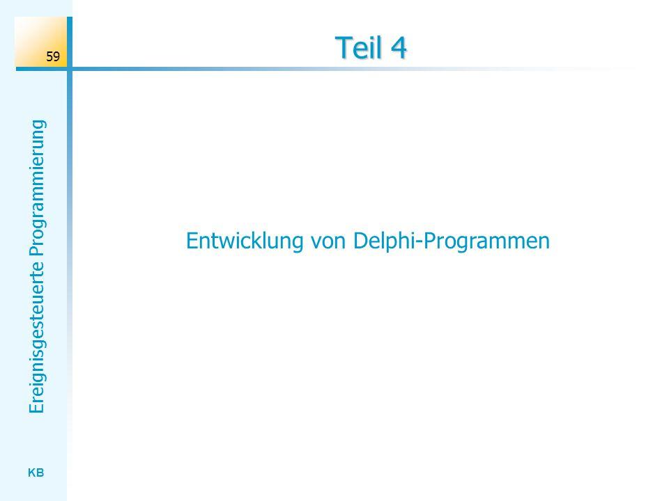 KB Ereignisgesteuerte Programmierung 59 Teil 4 Entwicklung von Delphi-Programmen